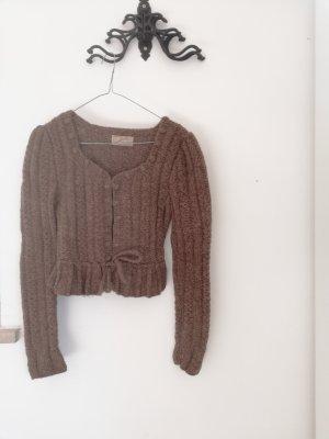 Naturmode Wełniany sweter szaro-brązowy-jasnobrązowy