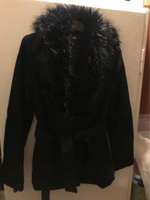 H&M Manteau en fausse fourrure noir-bleu foncé