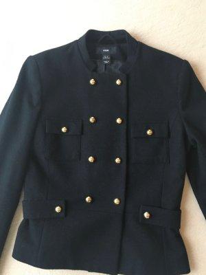 H&M Veste en laine noir-doré tissu mixte