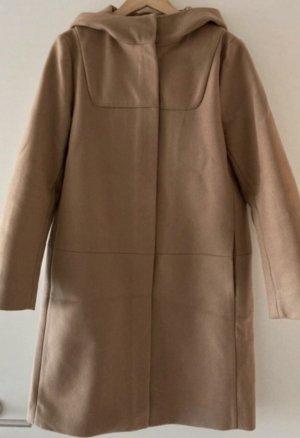 COS Wełniany płaszcz jasnobrązowy-camel