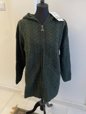 Aran Crafts Abrigo de punto verde oscuro Lana