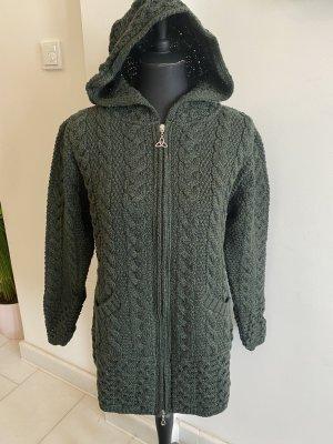 Aran Crafts Manteau en tricot vert foncé