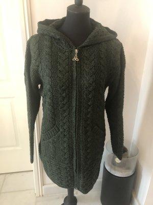 Aran Crafts Cappotto a maglia verde scuro Lana