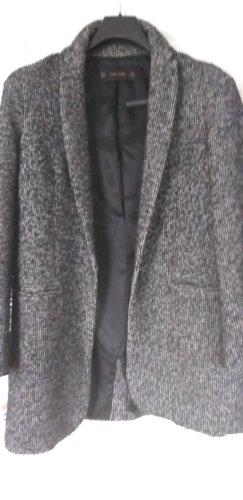 Zara Basic Abrigo de lana negro-gris