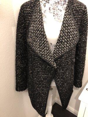 oui collection Wełniany płaszcz czarny-w kolorze białej wełny