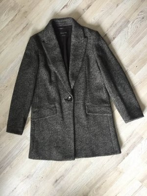 Massimo Dutti Wool Coat black-dark brown
