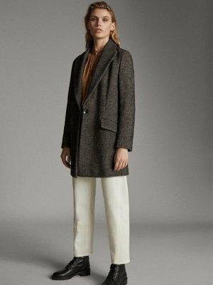 Massimo Dutti Manteau en laine noir-brun foncé