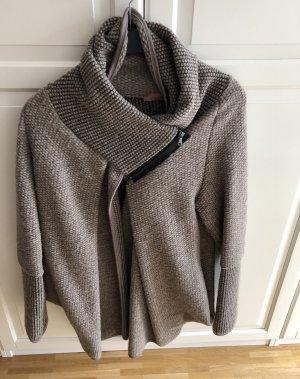 Manteau en tricot gris brun-gris laine angora