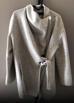 Wollmantel Mantel grau beige hand made wolle Cape Poncho
