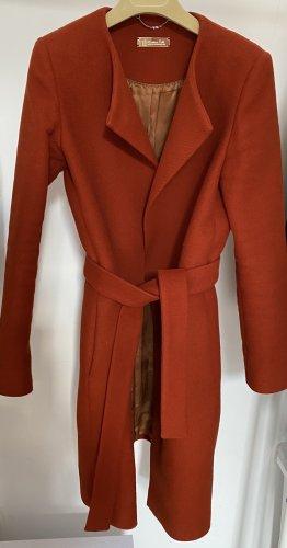 Massimo Dutti Manteau en laine rouille-rouge carmin