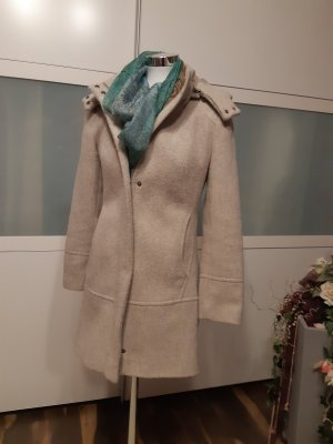 More & More Manteau en laine gris clair-beige clair coton