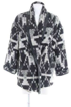 Wollmantel schwarz-wollweiß abstraktes Muster Casual-Look