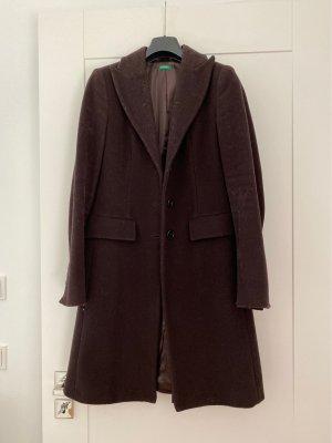 Benetton Wełniany płaszcz brązowy-ciemnobrązowy