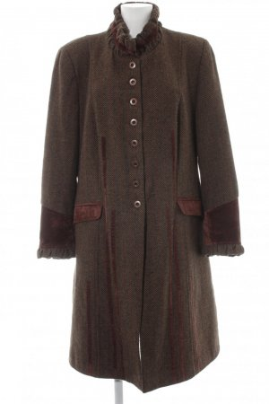 Heine Wool Coat dark brown-brown textile fiber
