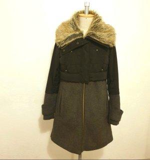 Zara Marynarski płaszcz czarny-ciemnoszary