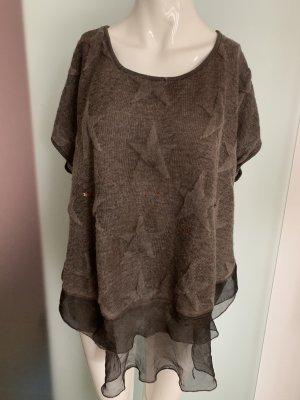 Wollmischung Pullover mit Volant Gr 44 46 XXXL Sterne