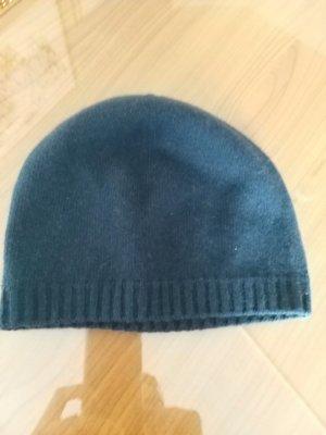 Benetton Chapeau en tricot bleu foncé laine