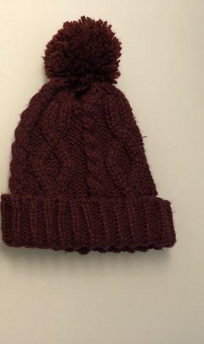 H&M Wełniana czapka ciemnoczerwony