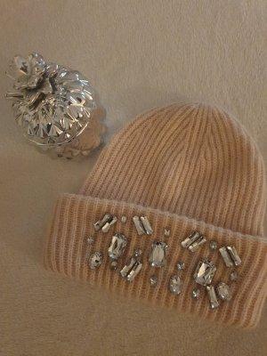 H&M Sombrero de punto rosa claro