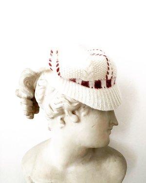 Vintage Chapeau en tricot blanc cassé-rouge foncé