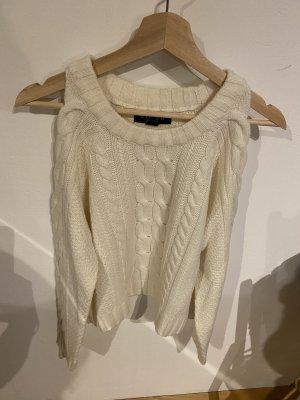 Amisu Warkoczowy sweter w kolorze białej wełny