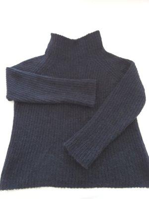 Pull à gosses mailles bleu foncé laine alpaga