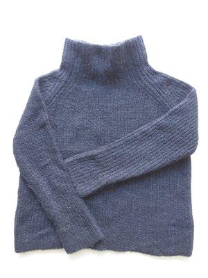 Wełniany sweter ciemnoniebieski Wełna