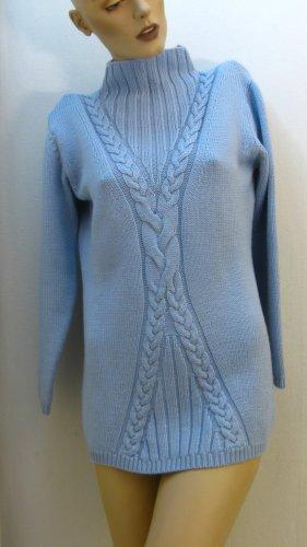 Pull long bleu azur laine