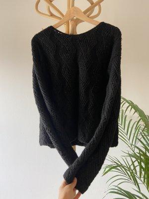 anukoo Sweter z dzianiny czarny Wełna z alpaki