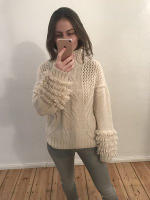 Wollpullover Fransen Strick nude weiß S
