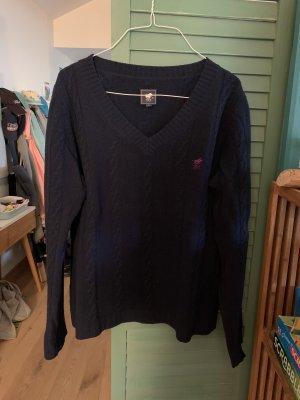 Polo sylt Warkoczowy sweter ciemnoniebieski