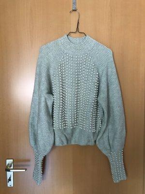 H&M Pull en laine gris vert-blanc cassé laine alpaga