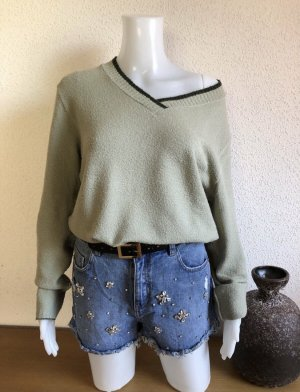 0039 Italy Wool Sweater sage green-pale blue
