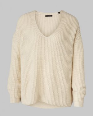 Marco Polo V-Neck Sweater natural white wool