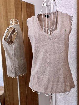 E.B. Company Sweter bez rękawów z cienkiej dzianiny beżowy Wełna