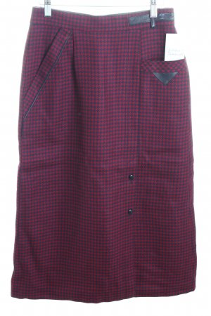 Wool Skirt dark red-dark blue houndstooth pattern vintage look