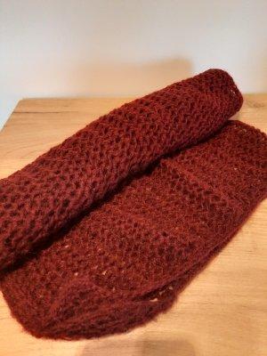 Hand made Sciarpa di lana bordeaux-marrone-rosso