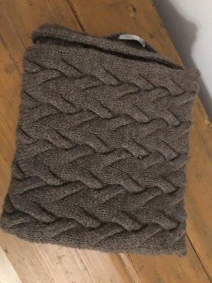 Brax Wełniany szalik szaro-brązowy