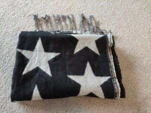Wollschal mit Sternmuster schwarz-grau