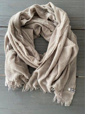 Taccetti Wełniany szalik szaro-brązowy-w kolorze białej wełny Wełna