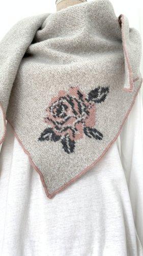 Zwillingherz Écharpe en laine gris clair-vieux rose laine