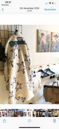 / Manteau en laine blanc-bleu acier
