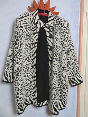 Vintage Abrigo de punto blanco puro-negro
