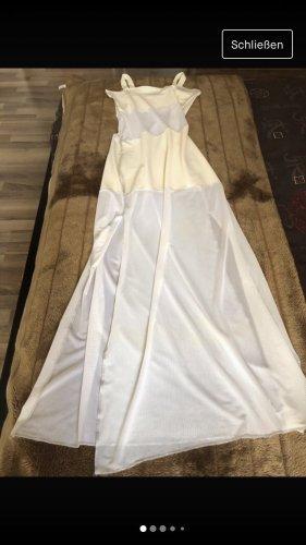 Wollweiss Sommerkleid Stretch teilweise Transparent Figurbetont