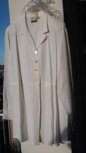 wollweiße Plissee-Bluse mit Perlmuttknöpfen in Gr 40/42
