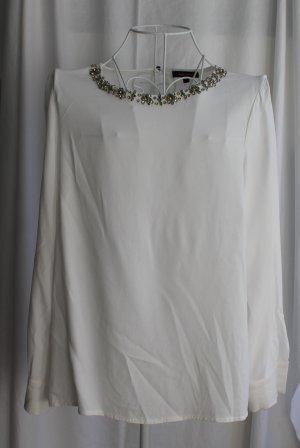 Wollweiße Shirtbluse mit Glitzersteinen