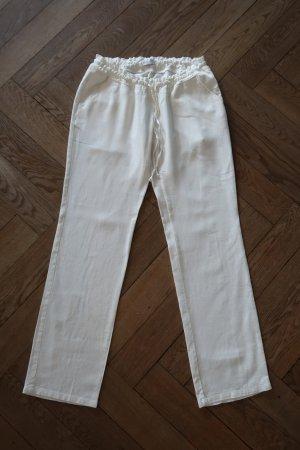 Mama licious Pantalon en lin blanc cassé-beige clair lin