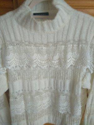Bisous Project Sweter z dzianiny w kolorze białej wełny