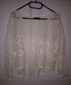 H&M Top en maille crochet blanc cassé