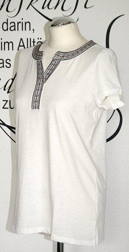 Wollweißes T-Shirt mit Stickerei (100% Baumwolle) - Neu!!